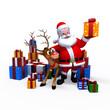 Santa Claus with his naughty reindeer