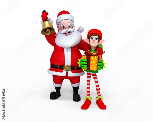 Illustration of Santa Claus with Elves.