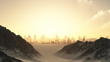 Futuristic Cityscape in Winter Sunset