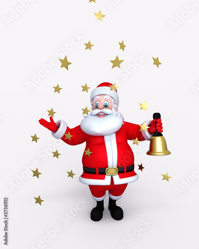 Happy Santa Claus holding bell with stars falls.