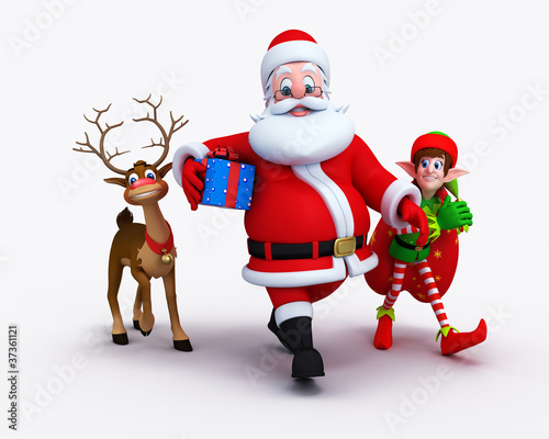 Illustration of happy Santa Claus with Elves and reindeer