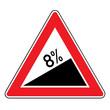 Verkehrsschild - Steigung 8%