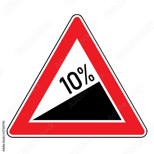 Verkehrsschild - Steigung 10%
