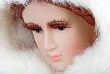 closeup woman face manikin poster