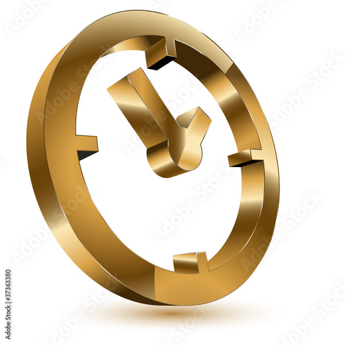 3d golden time clock symbol