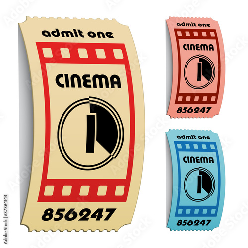 vector 3d curled cinema tickets