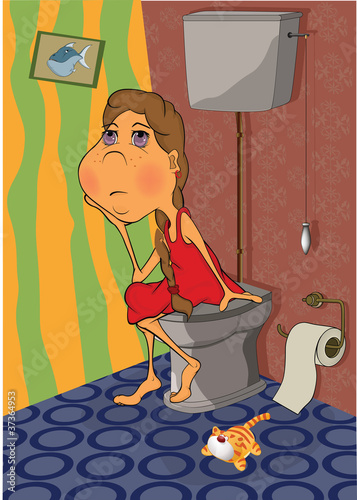 The girl in a toilet.. Cartoon