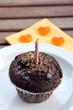 schokoladenmuffin mit kerze