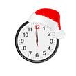 christmas red hat on clock illustration