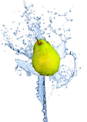 Fresh pear in water splash