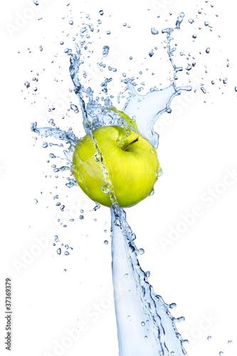 Foto op Canvas Opspattend water Fresh apple in water splash