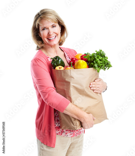 Senior woman with a grocery shopping bag.