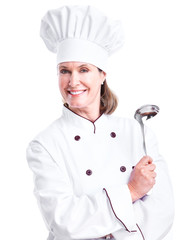 Beautiful professional chef woman.