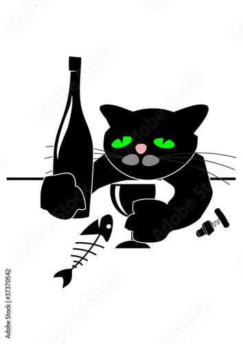 Drunken cat with wine bottle, fish and glass at table
