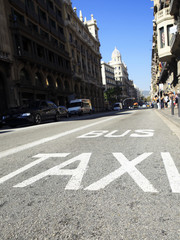 Traffic signs , Taxi and Bus