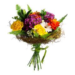 Beautiful bouqet roses and gerberas