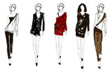 SKETCH. fashion girl. Hand-drawn fashion model. Vector illustrat