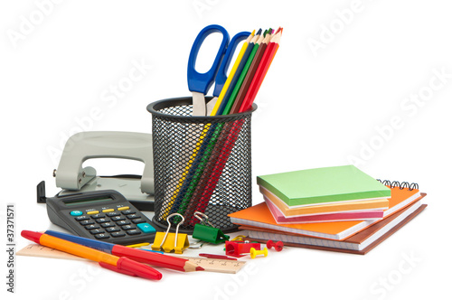 Set of stationery items.