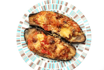 baked aubergine stuffed with vegetables and cheese