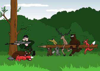 Cartoon joke - poacher and animals