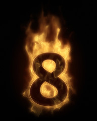 Burning number EIGHT in hot fire