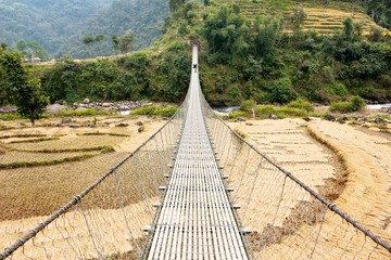 hanging footbridge in Nepal