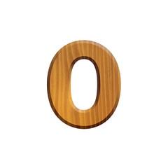 0 - zéro - Chiffre en bois - alphabet