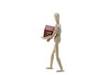 Wooden Manikin Doll Holding Christmas Box poster