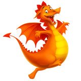 Fototapety vector cute smiling happy cartoon dragon isolated on white