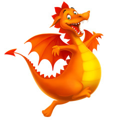 vector cute smiling happy cartoon dragon isolated on white