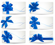 Big set of blue gift bows with ribbons. Vector.