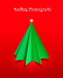 A christmas tree made from paper. Background