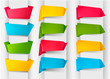 Set of colorful origami paper banners. Vector