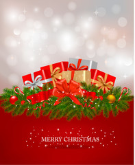 Background with presents and a ribbon. Vector