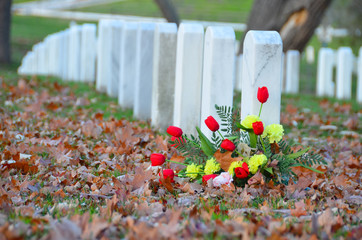 Headstones in Arlington National Cemetery in Washington DC