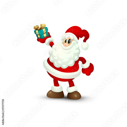 Isolated Santa Claus Holding Gift in Hand