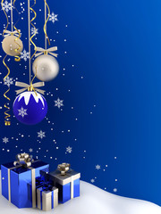 Postcard - Christmas baubles and gifts.