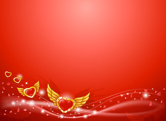 Winged flying golden hearts 2