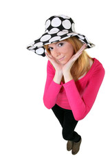 Young woman wearing a funky hat
