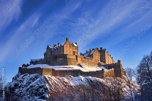 Edinburgh Castle In Winter Sunset - 37380394