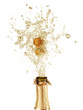 Explosion of champagne bottle cork
