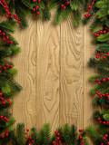 Fototapety Christmas Vintage decoration border design over wooden backgroun