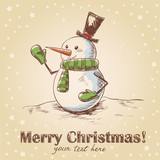 Hand drawn vintage christmas card with funny smiling snowman