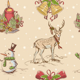 Fototapety Creative seamless Christmas hand drawn texture