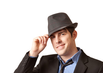 Man with hat on white background