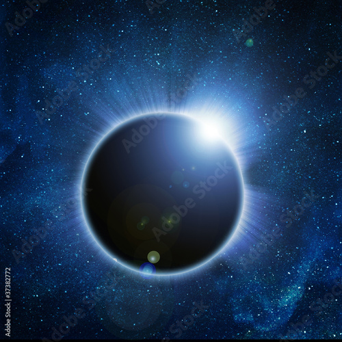 .solar eclipse on a black background