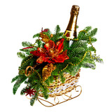 Christmas gift basket on white background