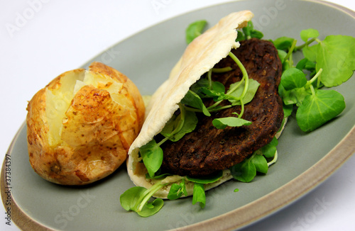 Vegetarian burger, watercress, Pitta brea,  Baked Potato