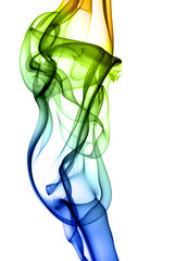 colorful abstract smoke isolated on background