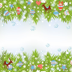 Christmas background, fir tree and ornaments